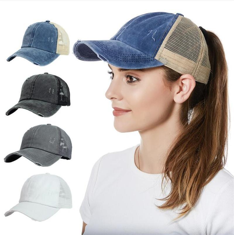 Hip Hop At Kuyruğu Şapka Beyzbol Şapkası Yıkanmış Pamuk Örgü Spor Snapback Düz Kapaklar Rahat Yaz Güneş Visor Açık Şapka