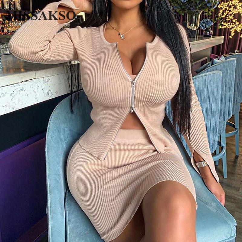 Missakso Sexy Zipper Вязаные Top высокой талией Юбка Streetwear с длинным рукавом Мода Женщины Сплошной Осень Два Piece Set Эпикировка