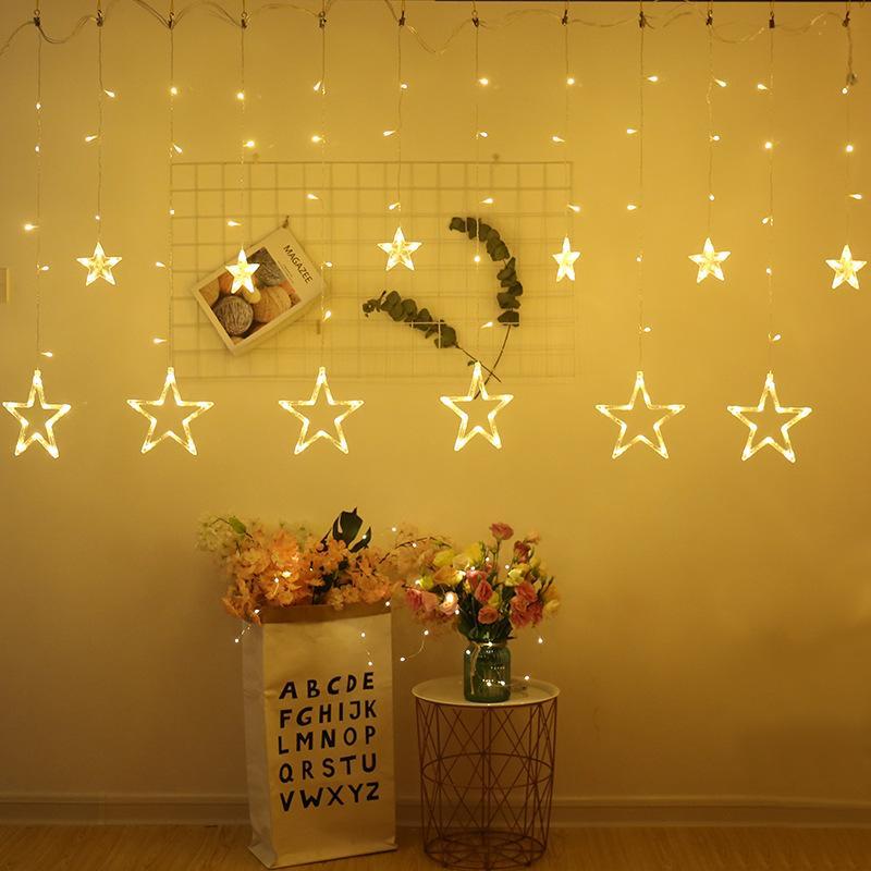 Vorhang-Schnur-Licht mit 12 Sternen 138 LEDs -Warm Weiß-Stern-Lichter für Schlafzimmer Hochzeit Prom Fenster Weihnachtsdeko