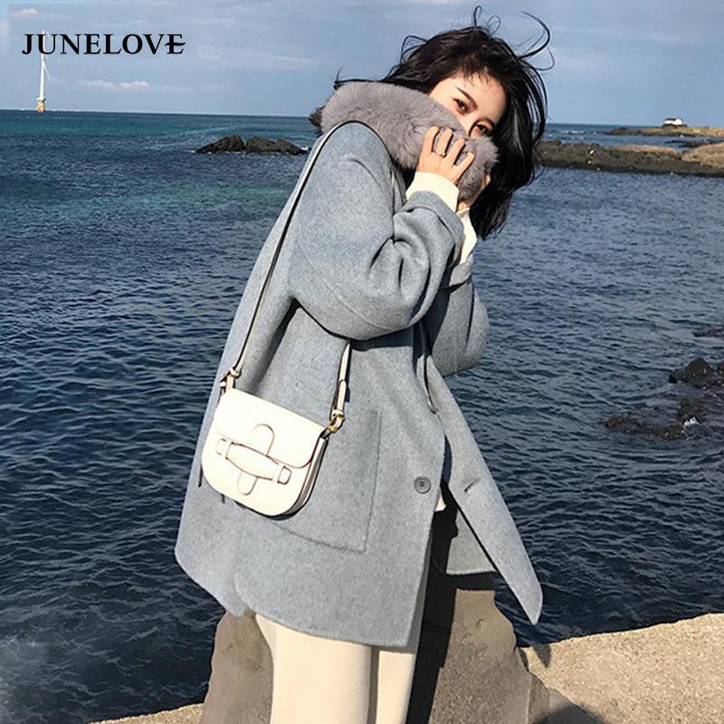 JuneLove anteriore-tasto casuale delle donne di lana del cappotto collare manicotto pieno inverno Outwears Vintage Spesso Femminile Miscela Coat Gira-giù