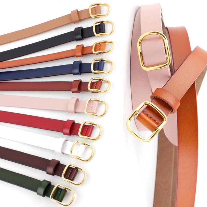 PU-Leder-Legierung Pin Buckle Frauen-Gurt Süßigkeit färbt dünner Gurt unregelmäßig Goldmetallschnalle Bund dünne Taillen