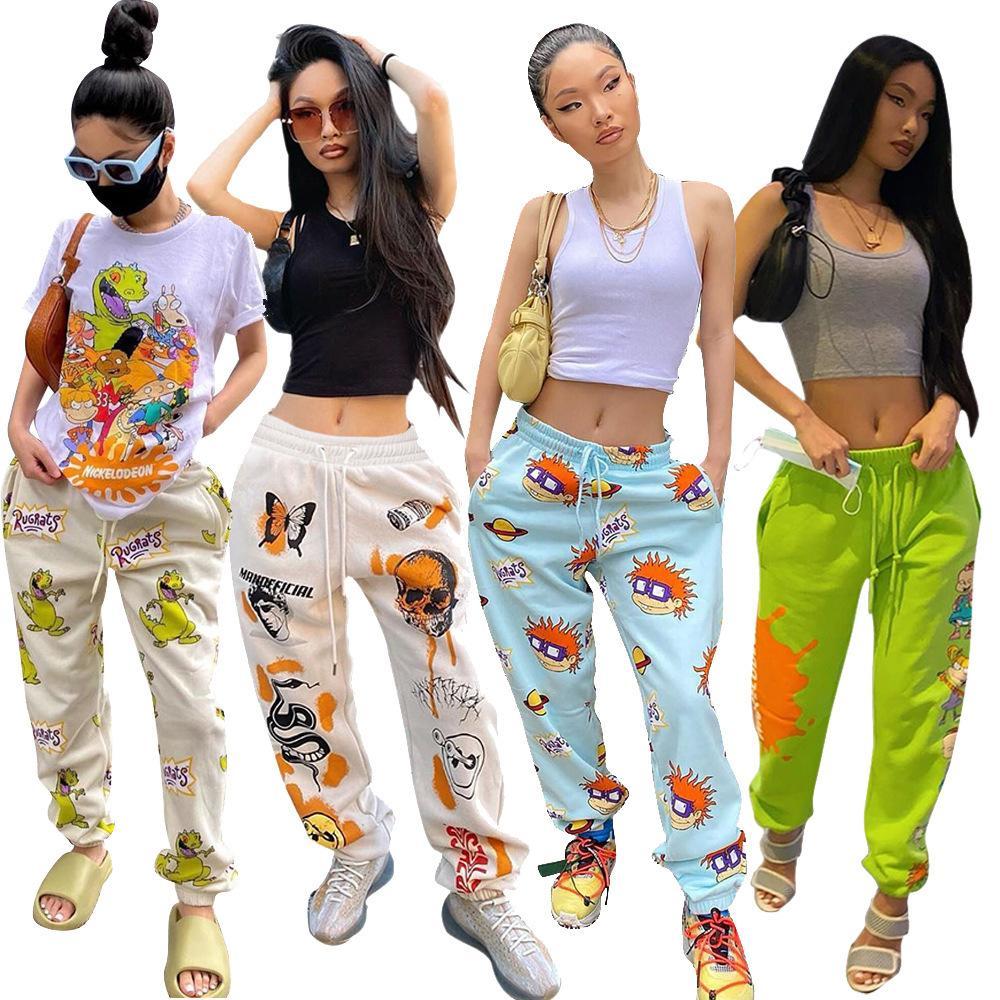 Moda Kadın Giyim Karakteristik Karikatür Baskı Yüksek Bel Günlük Spor Pantolon Bayan Casual Gevşek Uzun Pantolon Kış Yeni Güz