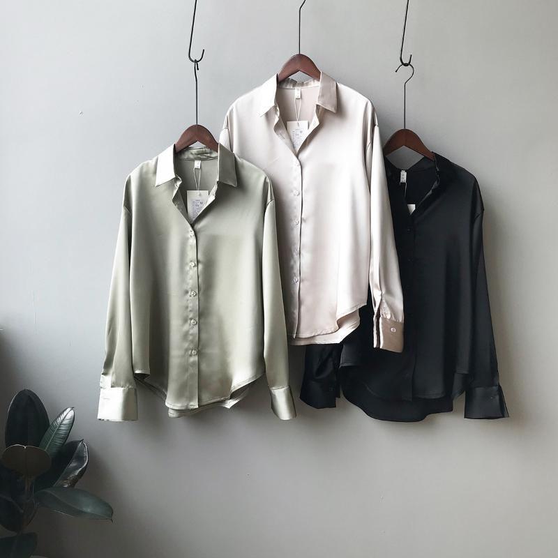 Şifon Bluzlar Kadın 2020 İlkbahar Yeni Koreli Katı Renk Gevşek Bak İnce Uzun Kollu Yaka Gömlek Female0726