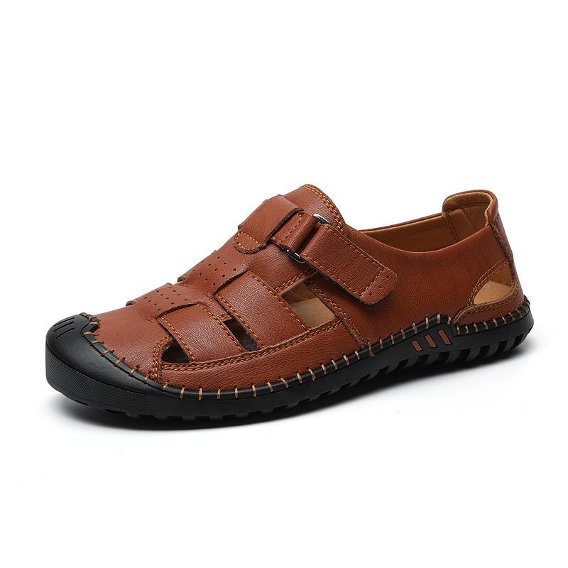 Echtes Leder-Mann Sandalen Sommer Leder Male Zehensandale weiche bequeme Male im Freien Strand Pantoffeln Sandalen Hombre