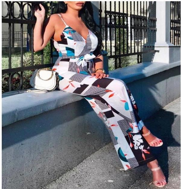 Frauen-Freizeit mit V-Ausschnitt gedruckt Harness Teiler Hose mit hoher Taille lose Riemen Fashion Damen Overall Weibliche beiläufige Strapless
