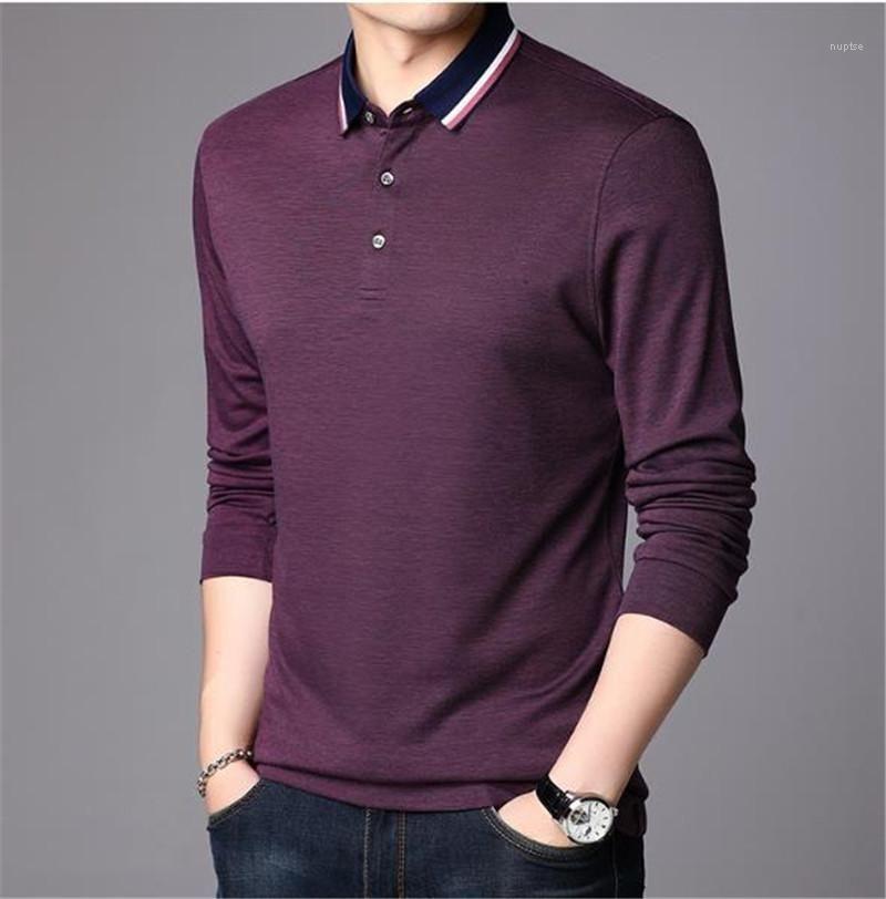 Clássico Polos Color Coleira Masculina Longa Moda Sólida Mens Solta Mangaered Designer Camisas Roupas Stand Polo CCATL