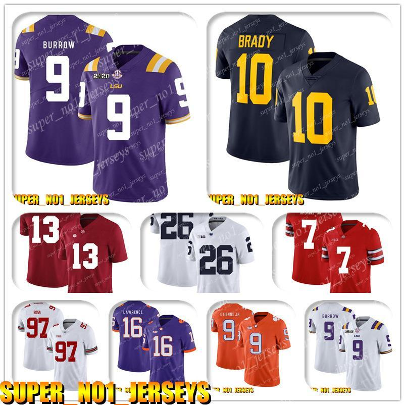 5-24 NCAA Joe Burrow.10 Tom Brady Wolverines College Football Jersey Jacoby Brissett Jonathan Taylor Philip Rivers Andrew Luck Leonard