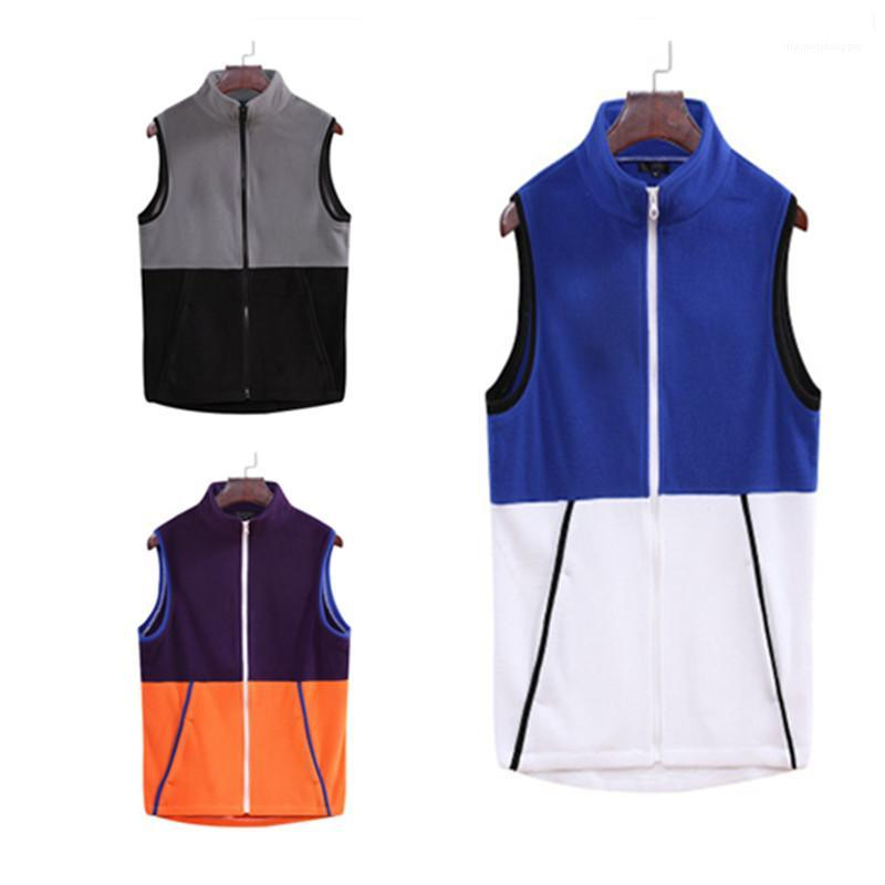 Zipper Vest Jacket Fashion Trend Outono Masculino Casual solta Ar Livre Homme Colete Homem Colorblock Collar Vest mangas Designer
