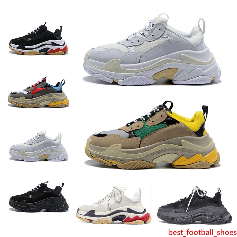 Desiger París Triples s zapatillas de deporte de moda para hombre mujeres blancas verdes top negro de calidad causal 2019 zapatos de papá