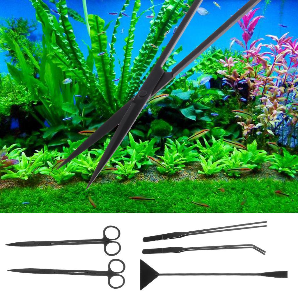 Herramientas acuario de plantas, Pinzas de acero inoxidable, de tijera, Espátula, plantado acuario herramientas Conjunto