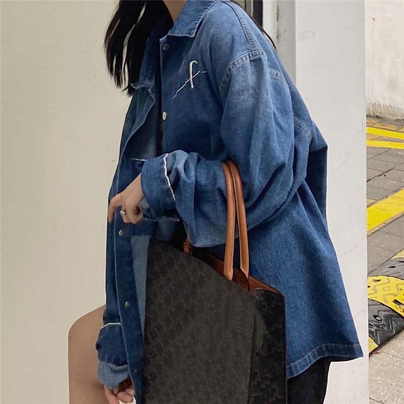 Le donne giacca di jeans lunga primavera Giacche invernali con il tasto di nuovo arrivo di modo di stile del cappotto lettere ricamo Windbreaker Jacket Jeans