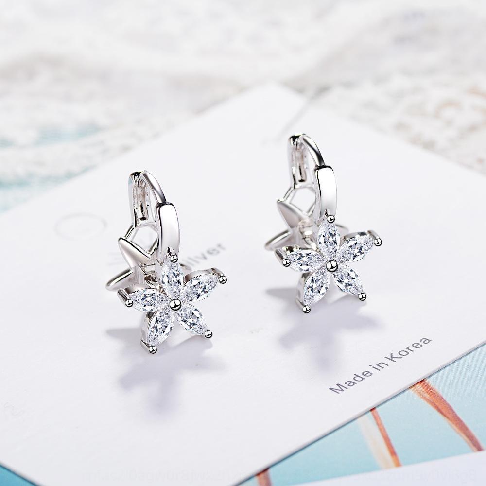 eRz2r Women's earKorean style sweet ear stud earring and earrings zircon double-layer flower fashion design sense niche cold wind earrings