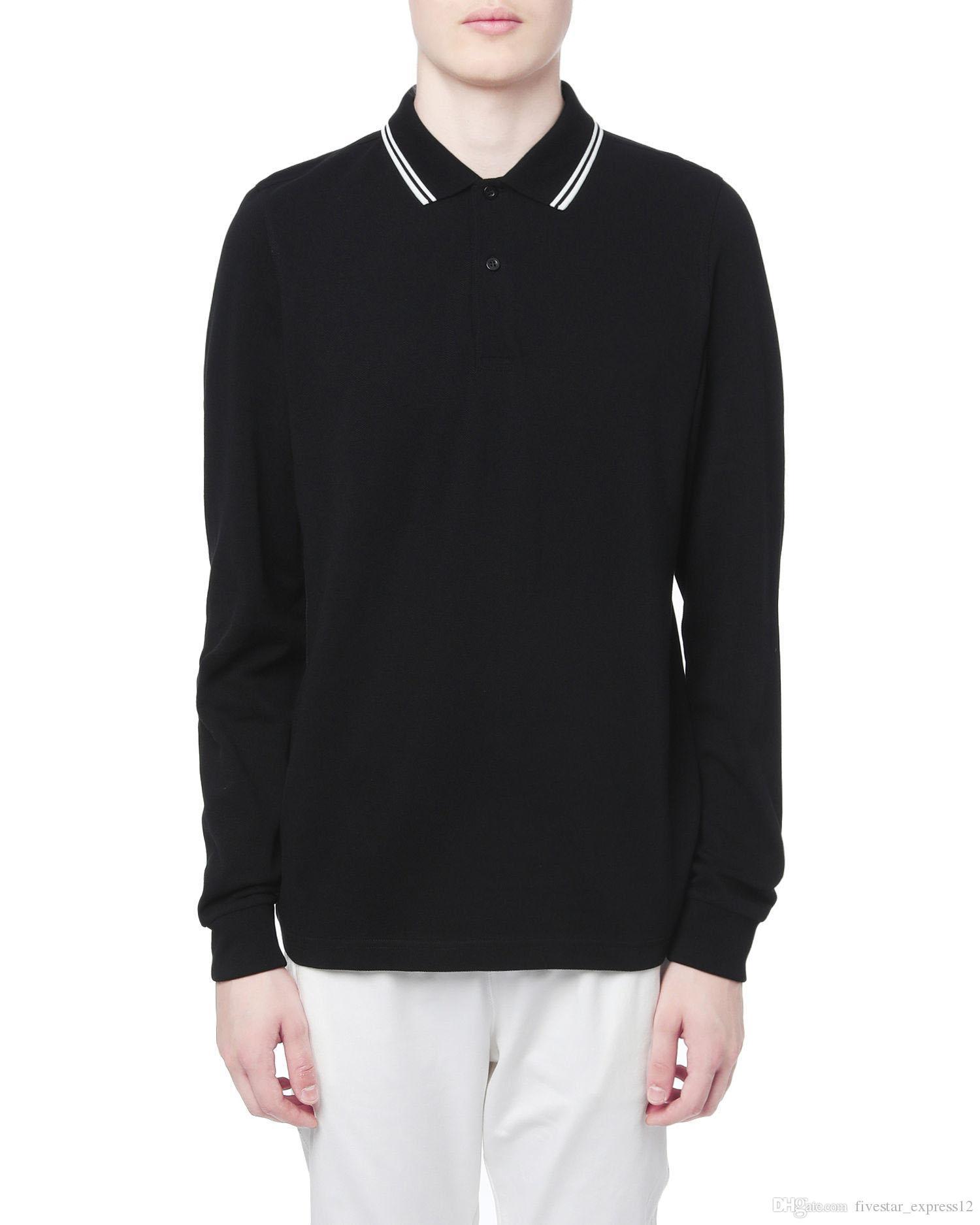 Gran Bretaña Hombres Londres Polo casual Camisetas de manga larga Camiseta sólida 100% algodón brit clásico camisa ocio camisetas Tops Tamaño negro S-XXL