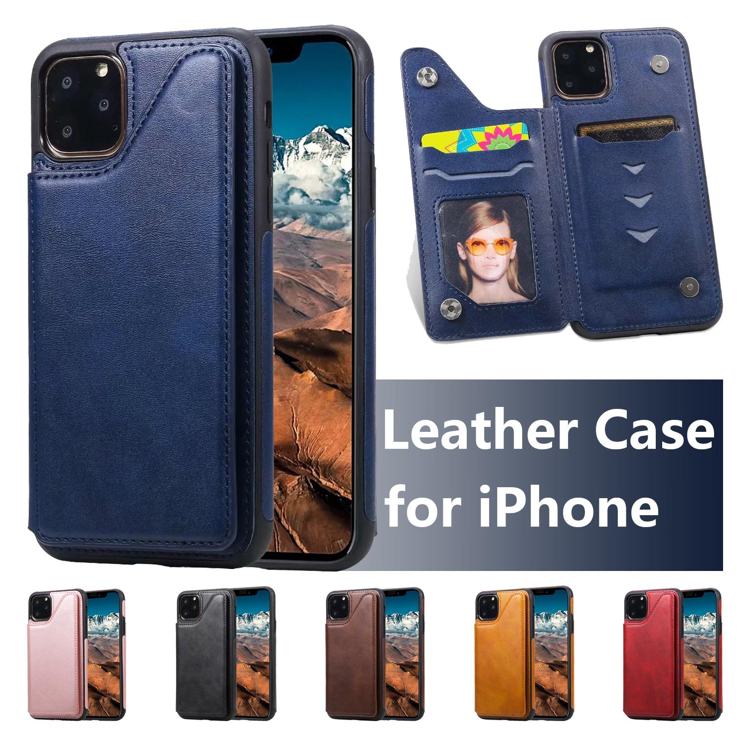 PU Leather Phone Case for iPhone 11 Pro X XR XS Max 6 7 8 Plus Samsung Galaxy S20 Ultra Solid Color Calfskin Texture Bracket Shockproof Case