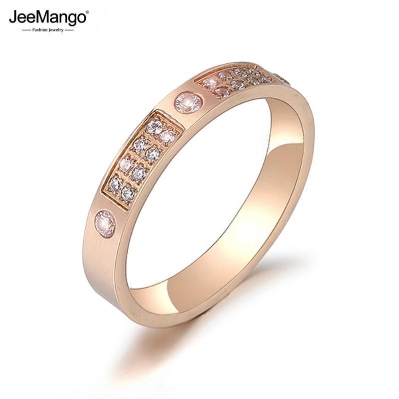 Titanium partido Rhinestone Aço JeeMango Luxo Anel moda mosaico CZ Crystal Rose anéis de casamento jóias de ouro para as mulheres JR19177