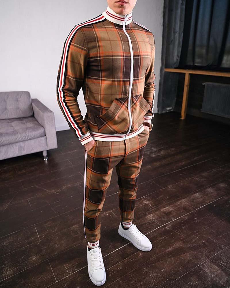Мужские костюмы 2020 Новая осень Мужчины Повседневная Двухсекционный костюмы Мода Мужчины Европы и Америки Стиль Спортивная наборы Размер M-3XL