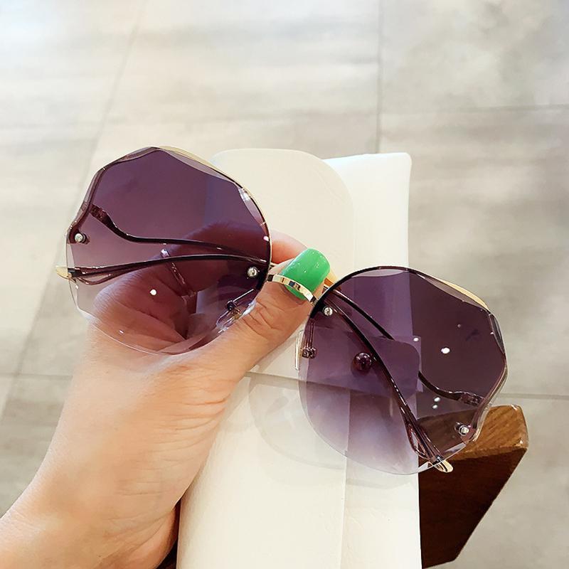 Diseño Diamante Redondo Redless Metal Fashion Cutting Glasses Pattern Worle Wave Gafas de sol Vintage Sun Gradient UV400 LBMVE
