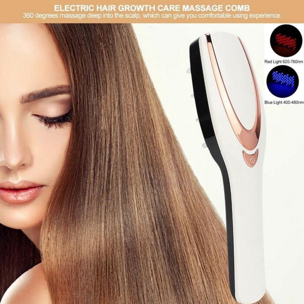 Fototerapia LED Light Cabelo Crescimento Comb vibratório Massager escova USB recarregável Scalp Queda de cabelo tratamentos Stress Relief