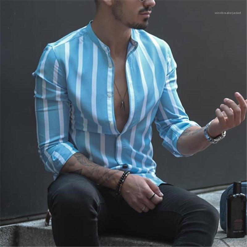 Mens Designer Listrado Shirts Moda solto Cardigan Tops Casual Mens Dress Shirt