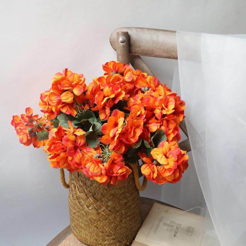 Begonia flores artificiais pano de Simulação Flores Vivid Decoração Bouquets