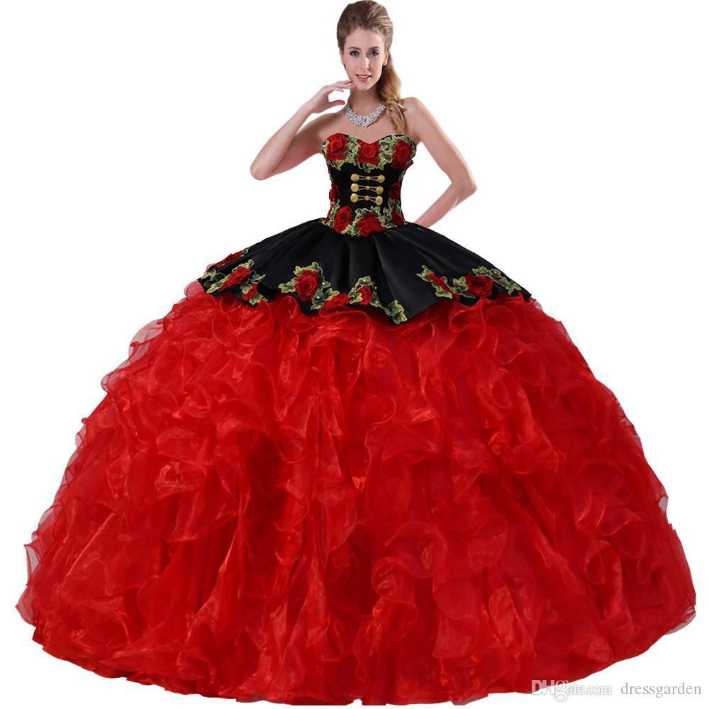 Removível dupla Correias Tridimensional Floral Rose Applique corpete e Overlay Peplum Black and Red Dress Quinceanera com medalhões