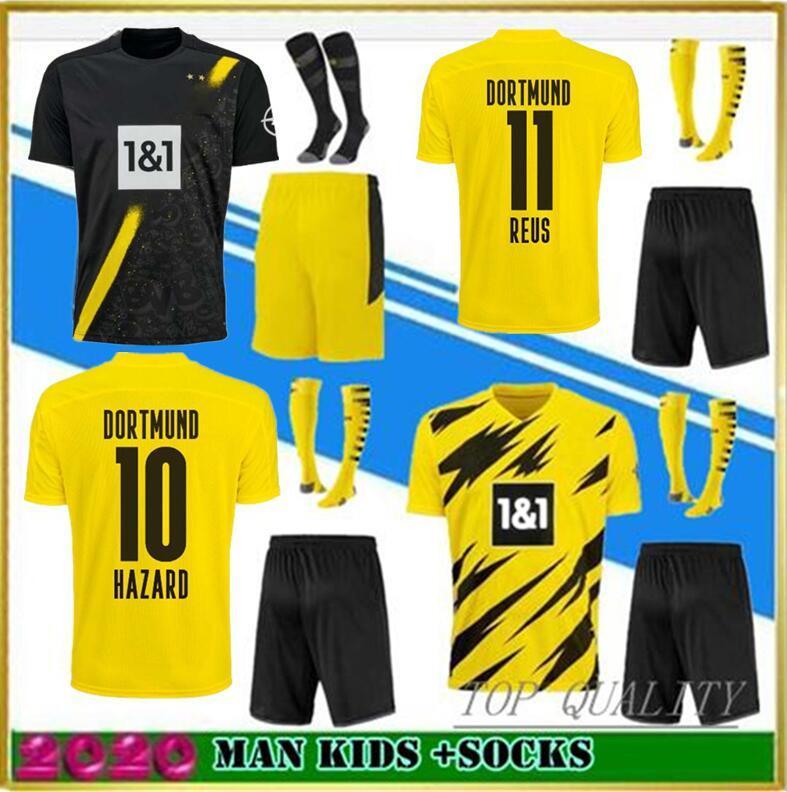 2020 Dortmund REUS Fußballtrikot Erwachsene Trikots + Socken 20/21 GOTZE BRANDT HUMMELS PACO ALCACER Fußballuniformen Herren Trikot