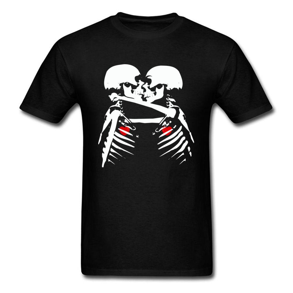 Personalizzata T-shirt di qualità di San Valentino ad alta Giorno Lover manica corta magliette nere di scheletro del cranio di stampa del fumetto Bacio Tee