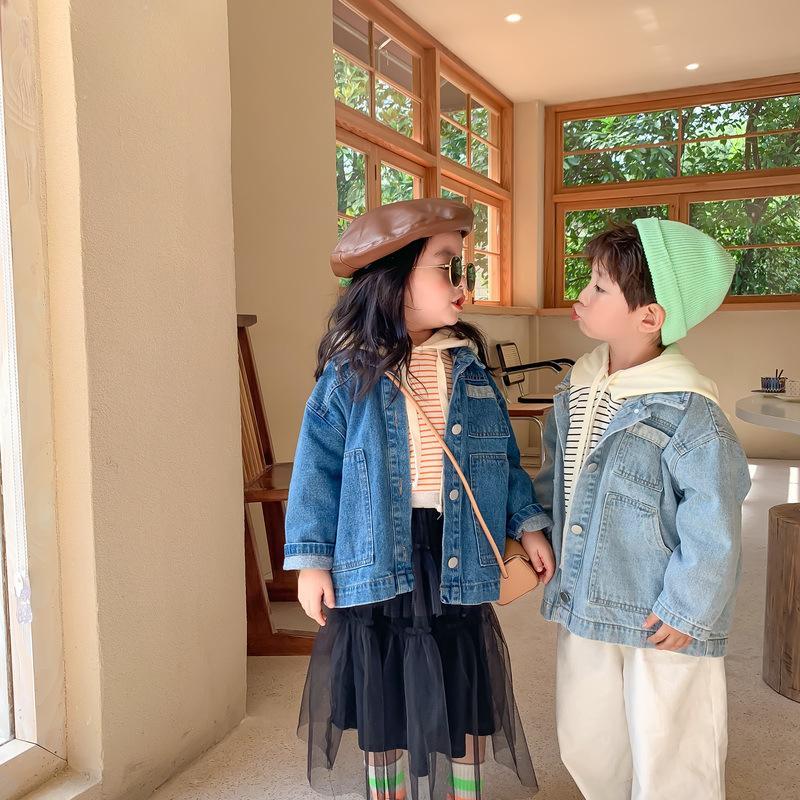 Ragazzi coreani moda ragazze stile sciolto giacche di jeans 2020 bambini di autunno casuali 2 colori cappotti oversize
