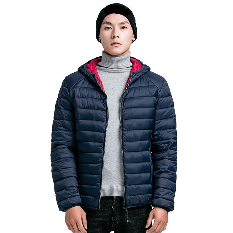 inverno del cotone di marca imbottito con cappuccio antivento Uomini Parka uomini felpe con cappuccio collare spessore trapuntato Mens Coat