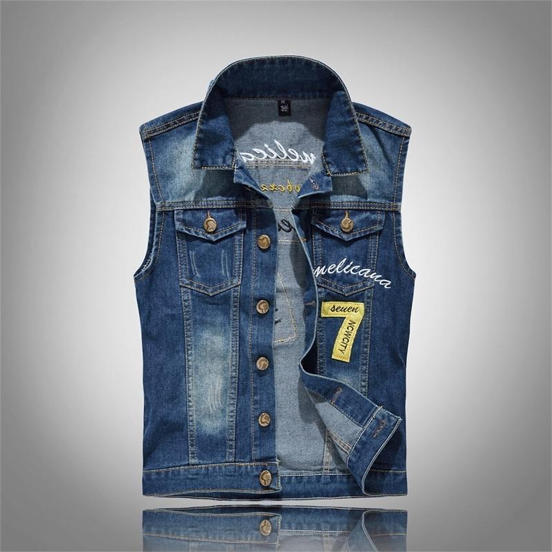 Новые 80S Vintage Мужские джинсовой жилет Мужских рукава хлопок мягкого удобные куртки Hole ДЖИНС мода верхний Жилет плюс 6XL T200910