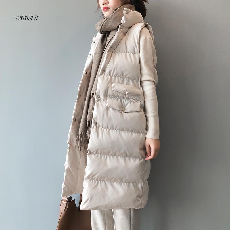 Otoño Invierno Las mujeres del algodón casual de las señoras chaleco femenino largo sin mangas del chaleco de la chaqueta adelgazan la capa caliente simple