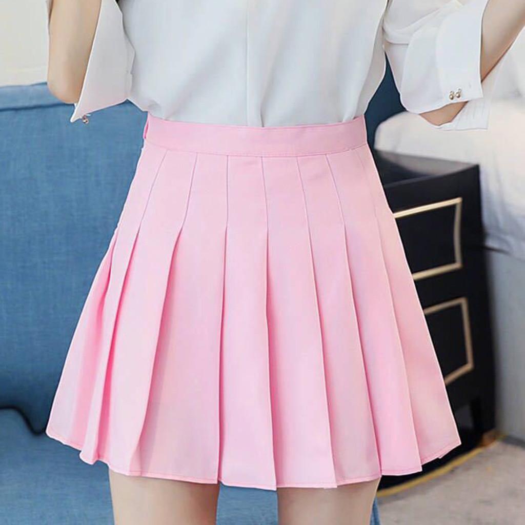 Moda cintura delgada ocasional de vacaciones centro de tenis faldas de color rosa rosa satén plisado verano de talle alto de encaje plisado Mini falda de las mujeres