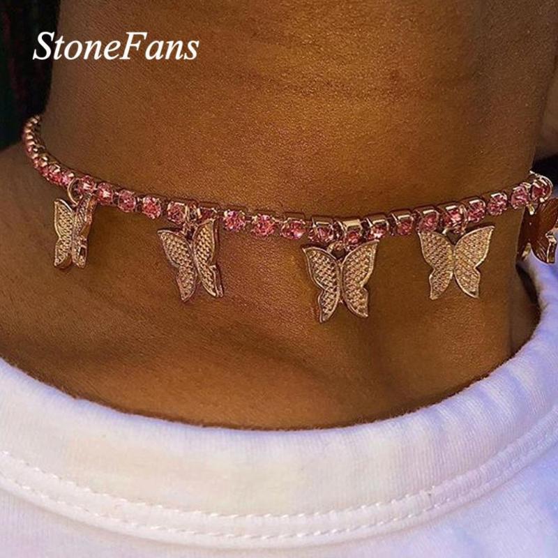 Stonefans Niedlich Gold rosa Schmetterling Tennis Halskette Strasshalsband für Frauen Hip Hop Schmetterling Halskette Bling Schmuck