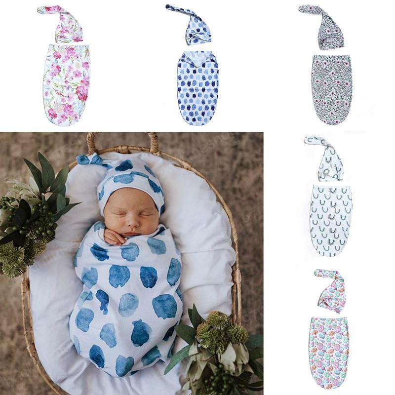 Newborn Baby Swaddle Blanket Sleeping Bag Knot Hat 2 pcs Wrap INS Toddler Cartoon Flower Doughnut Sleep Sacks Photography Prop