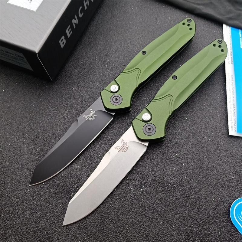 """Bench 9400 / 9400BK Osborne AUTO Folding Messer 3.4"""" S30V Schwarz / Satin Gerade Klinge, Grün Aluminiumgriffe BM 940 BM940 Automatische Messer"""