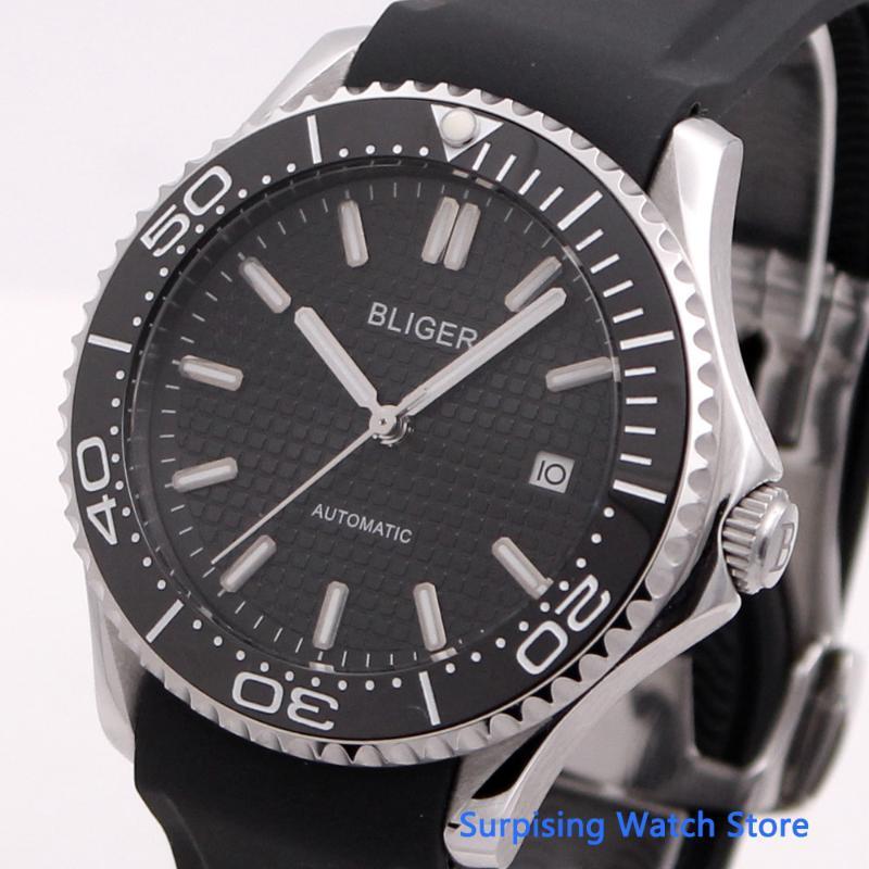 Montre-bracelet Bliger 41mm Automatique Mechanical Hommes Montre En caoutchouc Bracelet Lumineux Étanche Étanche Calendrier horloge Montre-Bracelet Hommes