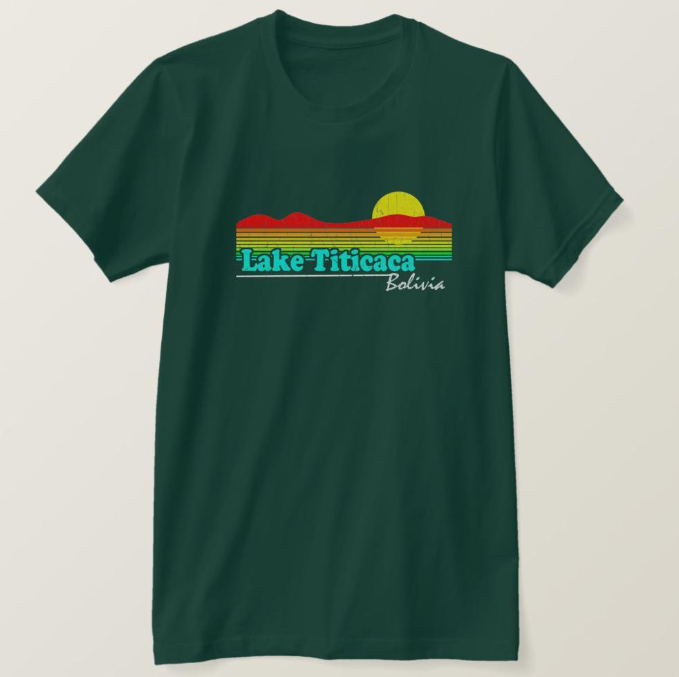 2019 Impreso camiseta de los hombres de la vendimia Lago Titicaca divertido algodón de manga corta de la camiseta de las mujeres camiseta