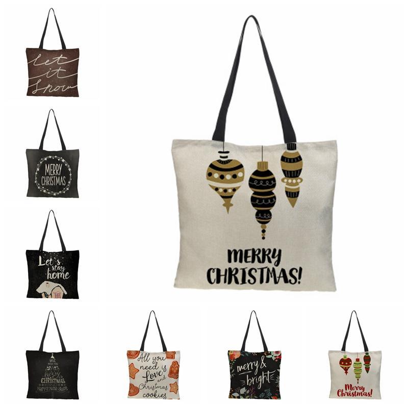 Shopping Bags Linen Portable Handbag Digital Printed Shopping Bag Kids Candy Gift Bag Christmas Gift Handbag 20 Designs BT446