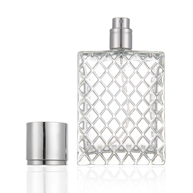 100 ml Şeffaf Cam Şişe Izgara Desginer Boş Parfüm Sprey Şişeleri Parfüm Atomizer Doldurulabilir Sprey Parfüm Şişesi