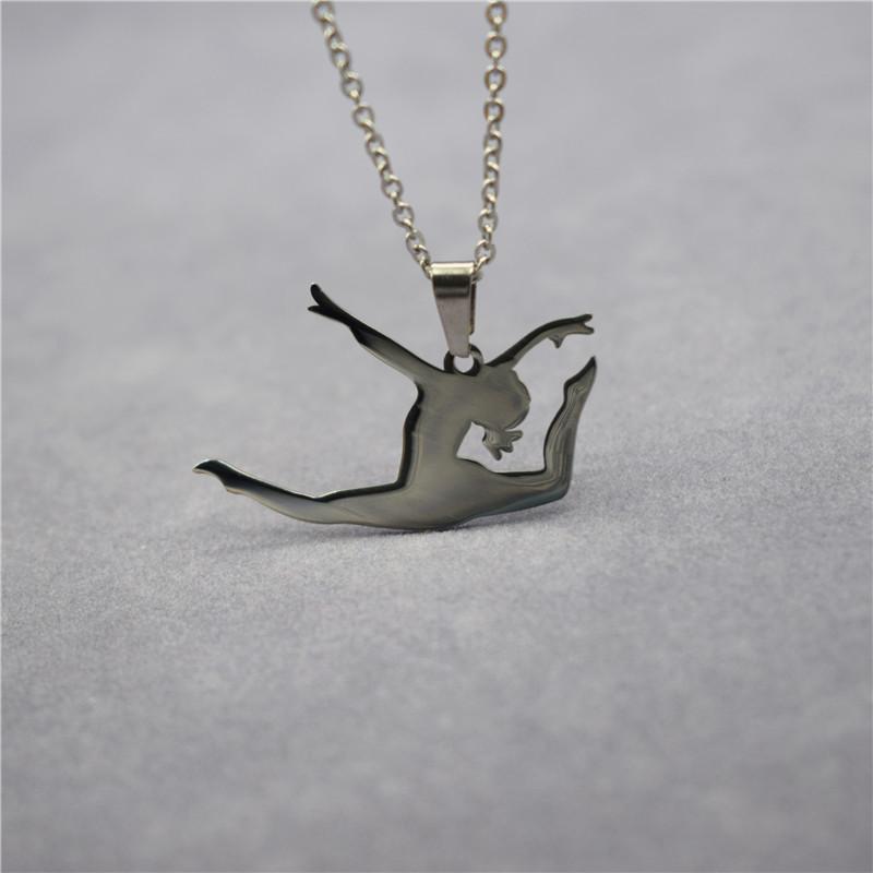 Collane del pendente Elfin Style in acciaio inox Acciaio inossidabile Collana di danza latina gioielli Dancing Gioielli Trendy Ballet Dancer Donne