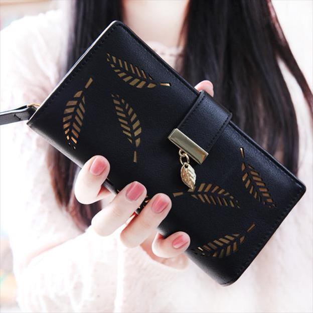 Novos modelos populares de design minimalista folhas longas pacote de cartões de carteira feminina qualidade bolsa saco de embreagem