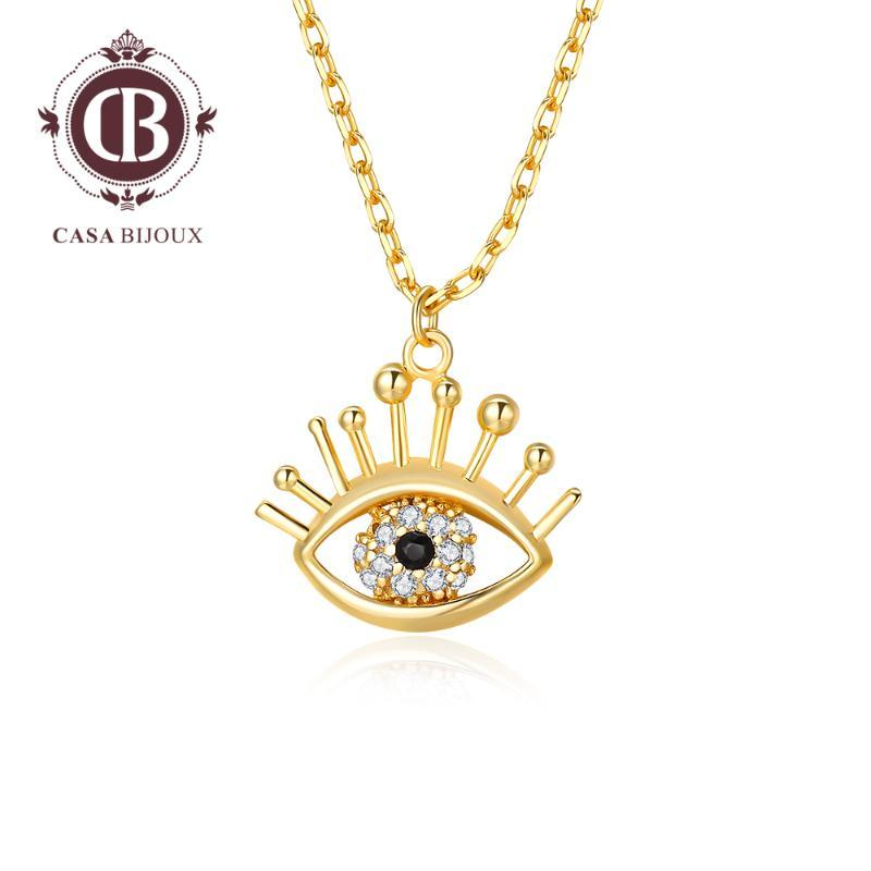 CASABIJOUX Pendant Necklace Gold Color Evil Eye Pendants Crystals from Swarovskii for Women Daily Fashion Jewelry