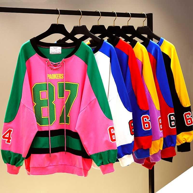 Chica Número de Estudiantes Imprimir sudaderas BF Diseño del bloque del color empalmado con capucha cuello en V más la camiseta floja con capucha Escudo de Corea Moda