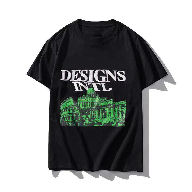 20ss Мода Мужчины Стилист Тройник Рубашки Классические Шаблоны Повседневная Пуловерная Гращество Дышащая Футболка Женщина 2 Стиль Доступно Размер: S-2XL