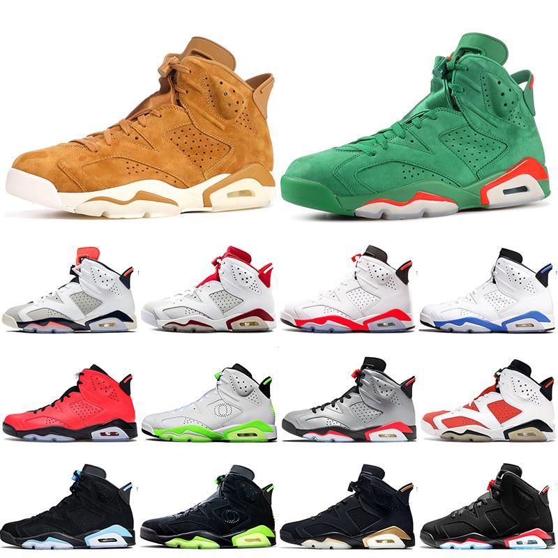 Erkek Basketbol Ayakkabı jumpman 6s GS Siyah Kızılötesi 2021 Gatorade Yeşil ALTIN HASAT Buğday Deri Erkek Ayakkabı Koşu Sneakers boyutu 7-13
