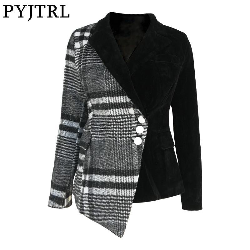 PYJTRL Femmes Mode Plaid Blazer Manteau Femme manches longues Vêtements Mode Printemps