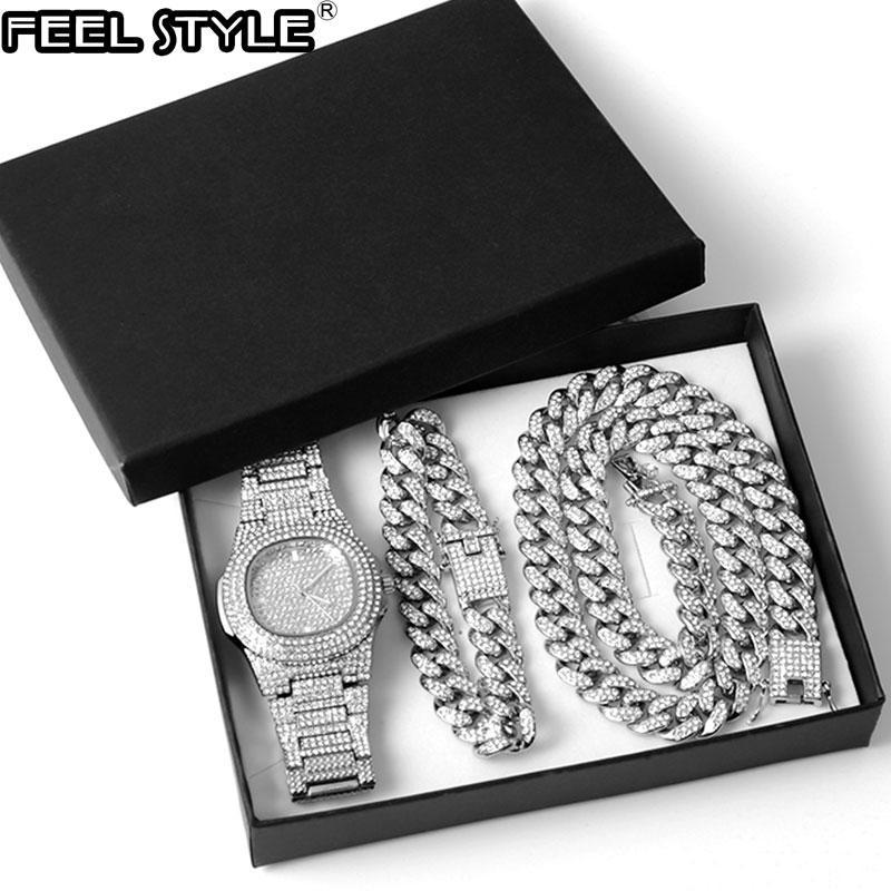 Серебряное цветное ожерелье + часы + браслет хип-хоп Майами бордюр кубинская цепочка полноценные вымощенные стразы CZ Bling для мужчин ювелирные изделия