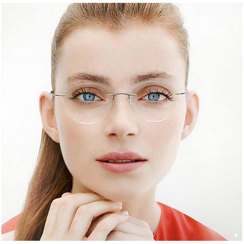 Randlose Brille Auge Kein Titan L3 Ultraleichtes Verordnung Rahmenlose Katzenrahmen Brillen Brillen Schraube Myopie Frames Frauen Aacqk