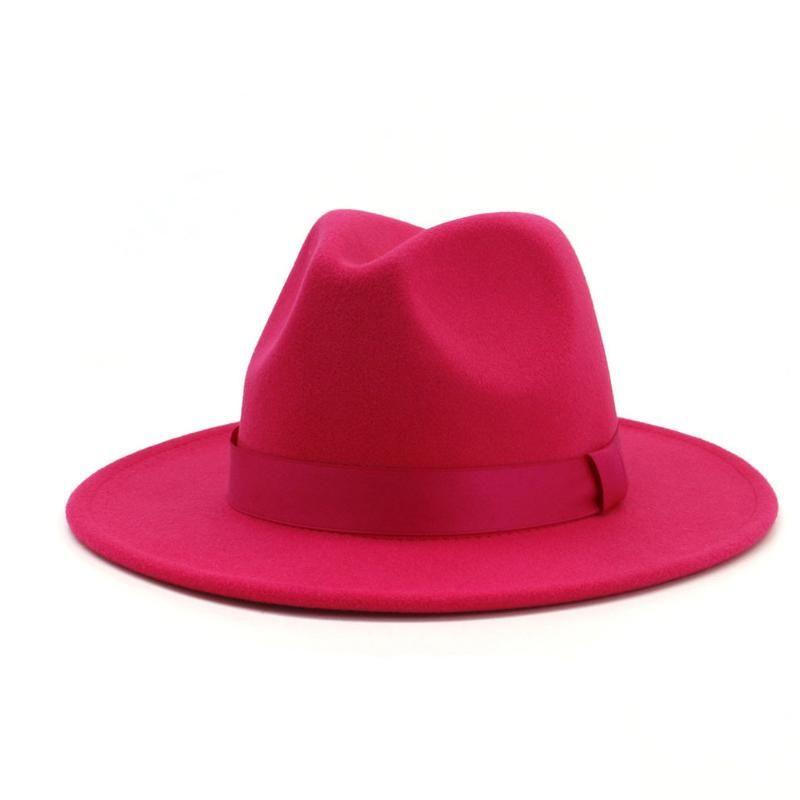 2020 Uomini Donne Red Wool Fedora Hat tesa larga del cappello di jazz signora elegante del partito di fascinator Dimensioni 56-58CM