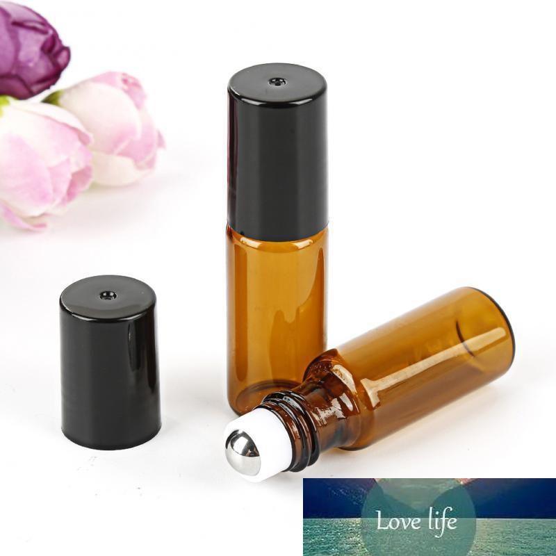 Usine 5ml Prix Ambre Roll On Bouteilles à rouleaux pour les huiles essentielles bouteille de parfum rechargeable Déodorant conteneurs avec du couvercle noir dans les stocks